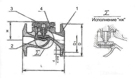 Клапан зворотній фланцевий 16с10п, 16с10нж