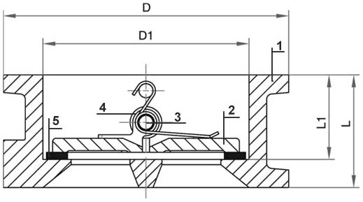 """Затвор (клапан) зворотній чавунний підпружинений """"хлопавка"""" (аналог 19ч21бр) РУ16"""