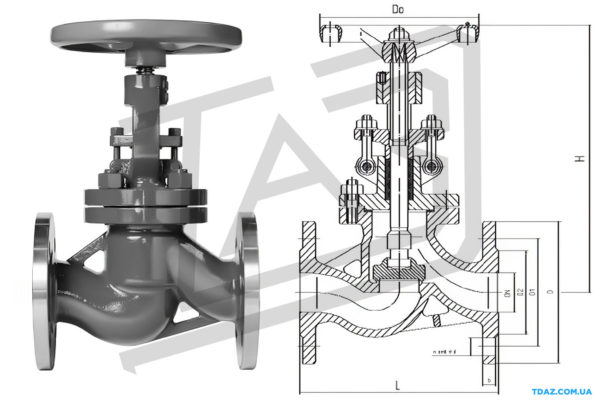Клапан запорный стальной фланцевий 15с65п(нж )Ру16