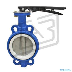Затвор дисковій чугунній Баттерфляй уплотнение PTFE, диск- нержавеющая сталь